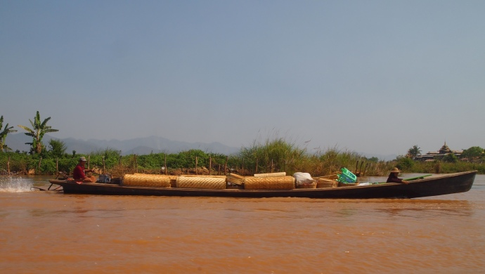 carrying cargo on Inle Lake