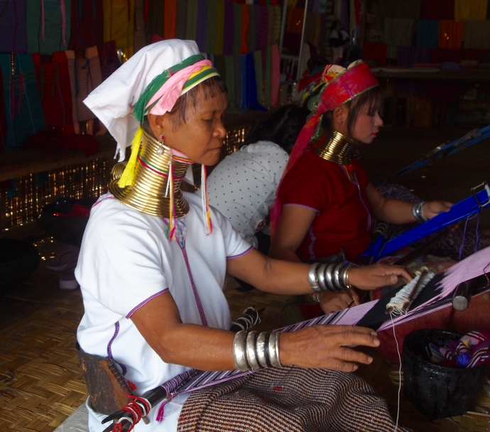 long-neck woman weaving