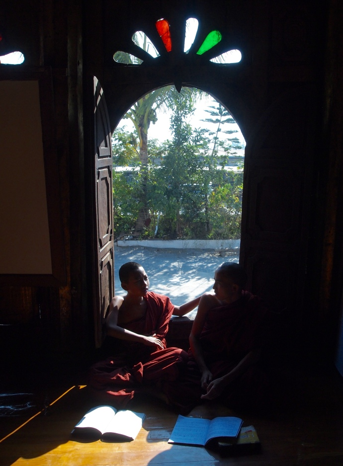 monks in the doorway
