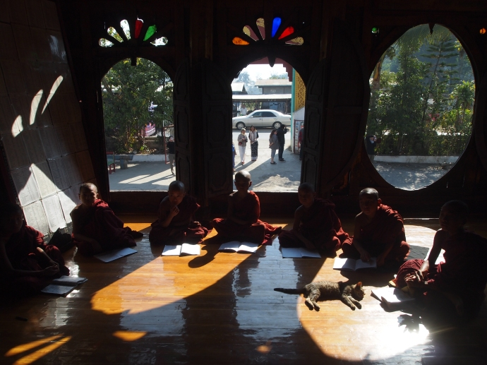 monks in sunlight ovals