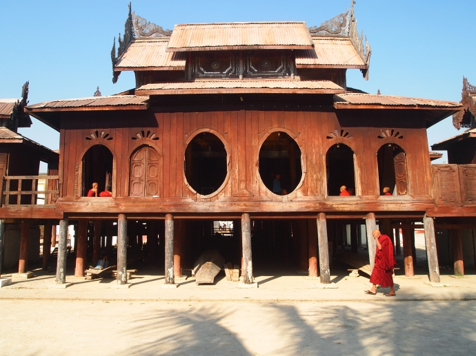 the oval windows of Shwe Yaunghwe Kyaung