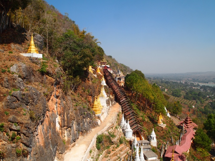 view on walkway to Shwe Oo Min Natural Cave Pagoda, Pindaya