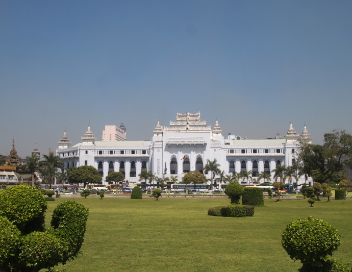 view of City Hall from Mahabandoola Garden