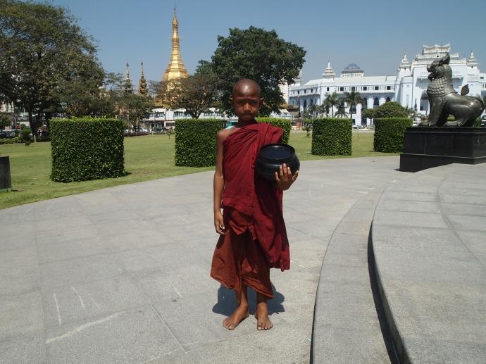 a monk in Mahabandoola Garden