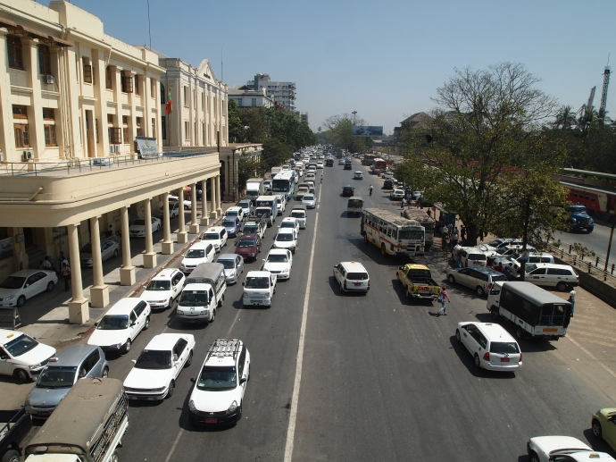 view of Strand Road from a footbridge