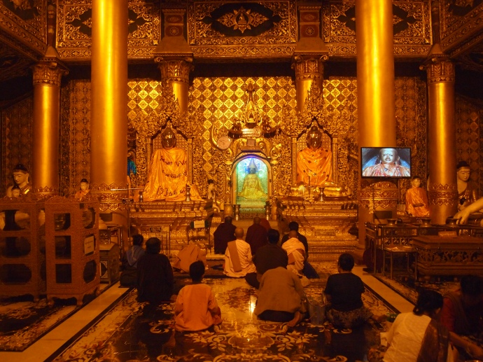 a shrine at Shwedagon Pagoda