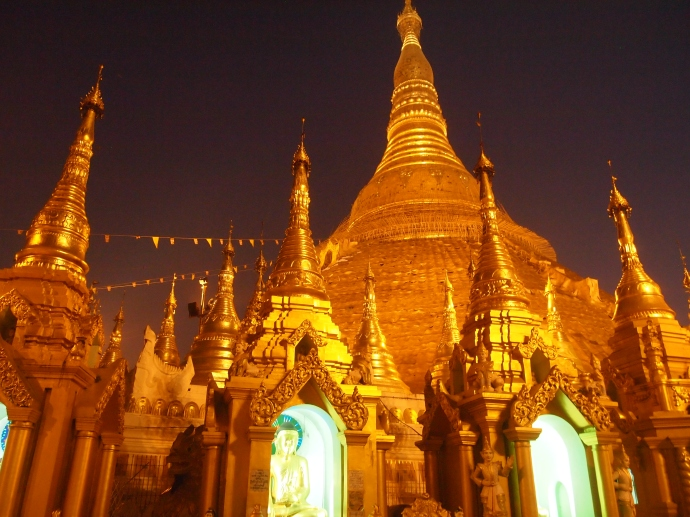 Shwedagon Pagoda before sunrise