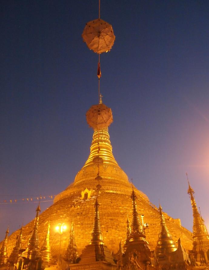 umbrellas atop Shwedagon Pagoda