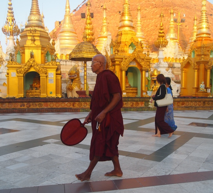 monk at Shwedagon Pagoda